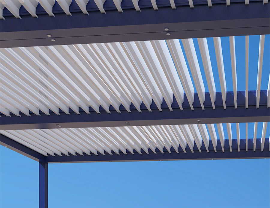 pergola bioclimatica con lamas modulables en el techo