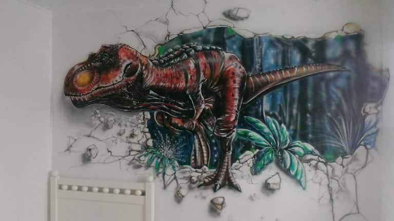 mural graffitti de dinosaurio